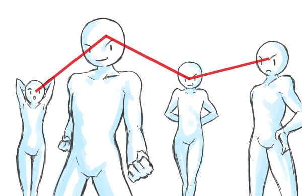 ジグザグ構図-補助線