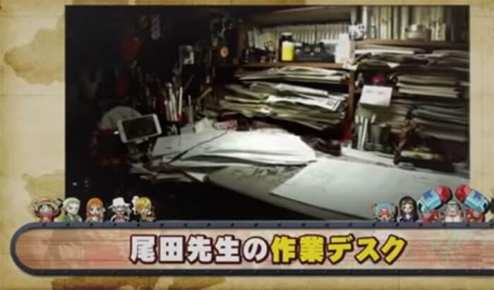 尾田先生の作業デスク