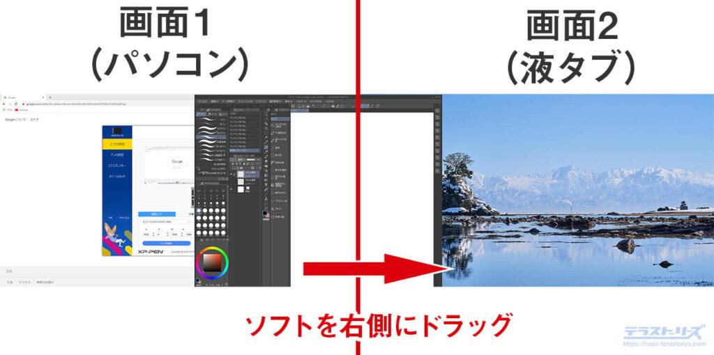 拡張画面のモニタ