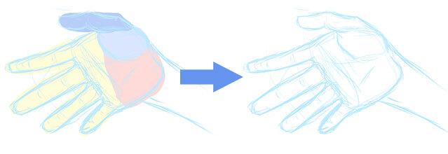 手のアタリから下描き